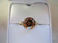 Antique Russian Style engagement 10k Yellow GOLD 2.30Ct Golden Diamond Ring