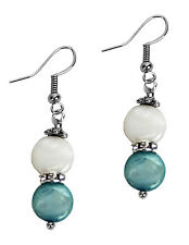 Grace Of New York Dangle Fashion Coin Pearl Shell Earrings Blue White Silver