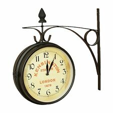 KENSINGTON STATION LONDON 1879 DOUBLE / TWO SIDED TRAIN RAILROAD WALL CLOCK NEW
