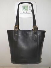 WOMEN'S VINTAGE COACH BLACK LEATHER TOTE BAG BUCKET PURSE MADE IN THE USA