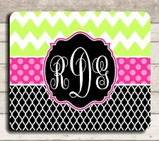 ***MOUSE PAD - CHEVRON PATTERN - LIME GREEN & HOT PINK - MONOGRAMMED FREE!**