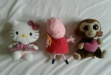 3X TY Peppa Pig Hello Kitty Pig Cat Monkey Plush Soft Toy Doll