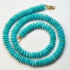 "9mm-10mm Sleeping Beauty Turquoise Faceted German Cut Rondelle Beads17"" Strand"