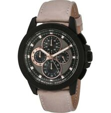NWT Michael Kors Ryker Black Beige Leather Chronograph Men's Watch MK8520 $275