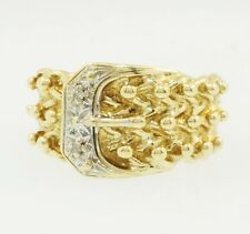 9Carat Yellow Gold Diamond Buckle Ring (Size M) 11mm Widest