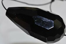 40x19mm Black ONYX AGATE X-Large Faceted Teardrop Mirror Polished Pendant C0825