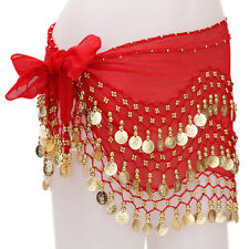 Belly dance belt 3 Row Hip Wrap Scarf Skirt Belt Dancing Costume Gold Coins&Bead