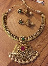 New Indian Pakistani Antique Ethnic Bollywood Ruby Green Pearl Moti Necklace Set