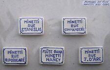 NEX série de 5 fèves – les plaques de rue MINETTI 2002