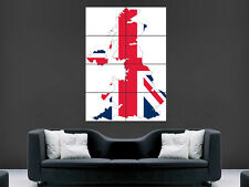 MAP OF THE UK POSTER UNION JACK ARTISTIC PICTURE WALL IMAGE ART PRINT