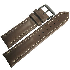 22mm Mens Fluco Chrono Nabucco Brown PVD BUCKLE Leather German Watch Band Strap