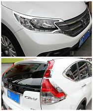 ABS Chrome Front + Rear Light Lamp Cover Trim For HONDA CRV 2012-2014 CR-V