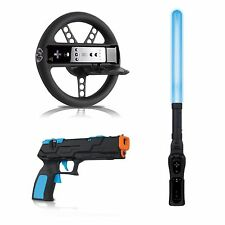 dreamGEAR Nintendo Wii / Wii U 3in1 SABER BLASTER LIGHT GUN RACING WHEEL KIT