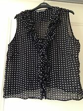 Black Spotted Polka Dot Blouse Ruffles Size Uk 18