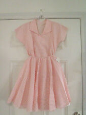 Girls 50's Pink Checked Blouse Top Skirt Set Poodle Sock Hip Day Dress L CC34