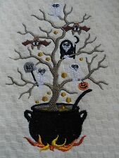Ivory Waffle Weave Terry Kitchen Hand Towel Embroidered SPOOKY HALLOWEEN TREE