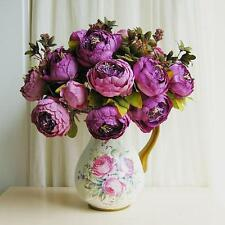1x Bouquet Artificial Purple Vintage Peony Silk Flowers Wedding Home Decor