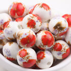 10/20PCS Red Flower White Round Ceramic Porcelain Loose Beads 12mm For Jewelry