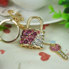 Lock and Key Keyring Rhinestone Crystal Jewelry Women Bag Buckle Keychain Gift