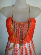 Sky Clothing Brand S Top Tie-Dye Gold Chain Feather Bright Orange White Fall