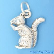 CHIPMUNK SQUIRREL EATING NUT 3D .925 Solid Sterling Silver Charm