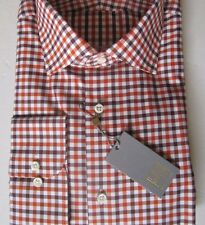 NWT GOLD Ike Behar New York Red Sunset Orange Check Dress Shirt 15 1/2 LS 32/33