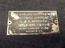 VINTAGE AIRCRAFT AUTOMATIC GYROPILOT C8-D3-B DATA TAG FOR YOUR DC-3 OR RAT ROD