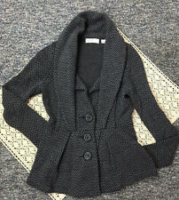 Anthropologie Sleeping On Snow Sweater Blazer Gray Black Chevron Print XS/P
