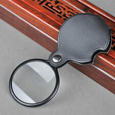 Durable 5X Times Clear Magnifier Magnifying Glass With Leather Case Folding