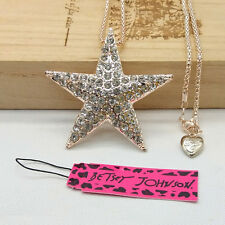 Fashion Betsey Johnson crystal Five-pointed star pendant sweater necklace  ZM21