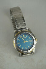 Citizen Eco Drive WR 100 WR100 Blue Face Mens Watch Stainless Steel Faulty