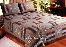 BARN STAR PATCH 4pc King QUILT SET : PRIMITIVE BARNWOOD RUSTIC AMERICANA BED