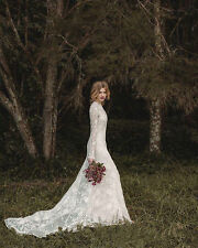 2017 Elegant Lace Bohemian Long Sleeve Wedding Dress A-Line Country Bridal Gown