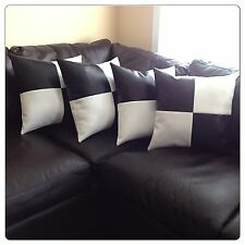 Home sofa black, white leather accent decorative throw case cover cushion pillow