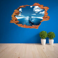 Blue Sea Sailboat Birds 3D View Wall Sticker Mural Art Home Decor Bedroom Decal