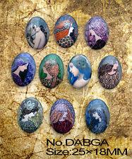 Free shipping 10pcs Gorgeous Arabia woman Oval Glass 25x18mm  Cabochon DABGA