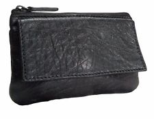 Women's Genuine Leather Black Coin Change Purse Wallet
