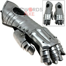 Longarm Knightly Gauntlets Medieval Scale Armor Carbon Steel 6-Point Wrist Flex