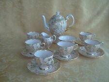 16Pcs Tuscan Fine Bone China Tea Set Pale Pink W Colorful Flowers Gold Gilt