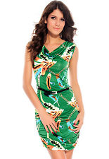 Green Feathers and Chains Cowl Neck Dress - Sleeveless with Cowl Neckline
