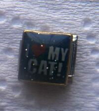 """I LOVE MY CAT"" BLUE 9MM ITALIAN CHARM"" , PET,  FAMILY,MEOW, PROTECT, FLUFFY"