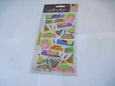 Scrapbooking Stickers Sticko Happy Birthday Bash Presents Mylar Balloons Candles