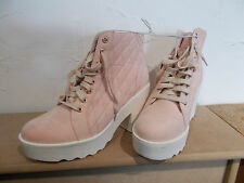 bnwt size 7 pale pink suede effect white block heeled lace up ankle boots RRP£25