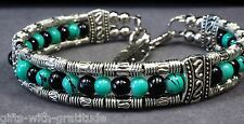Tribal Bracelet Bangle Womens Gift Black Turquoise Silver Tone Feather 60mm