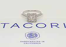 1.37 ct TACORI HT-2502 Platinum Princess Cut Diamond Engagement Halo Ring GIA