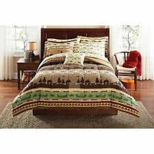 Fishing 8pc Queen Size Brown/Sand/Green Comforter Set Rustic Lodge Bedding