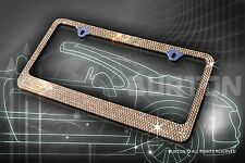 Bling 7 Rows Brown Crystal AB METAL License Plate Frame+Caps/AA