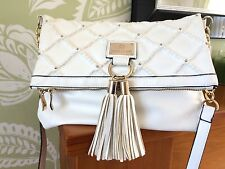 RIVER ISLAND WHITE QUILTED STUDDED FAUX LEATHER TASSEL MESSENGER  CROSS BODY BAG