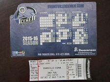 EVANSVILLE Icemen 2015-2016 SGA Hockey MAGNET SCHEDULE & Game Ticket LOT