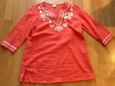 Women's Jaclyn Smith Red Pink Large L Embroidered Linen Tunic Blouse Top Shirt